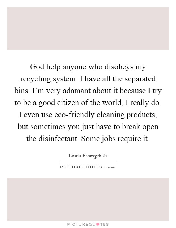 God help anyone who disobeys my recycling system. I have all the separated bins. I'm very adamant about it because I try to be a good citizen of the world, I really do. I even use eco-friendly cleaning products, but sometimes you just have to break open the disinfectant. Some jobs require it Picture Quote #1