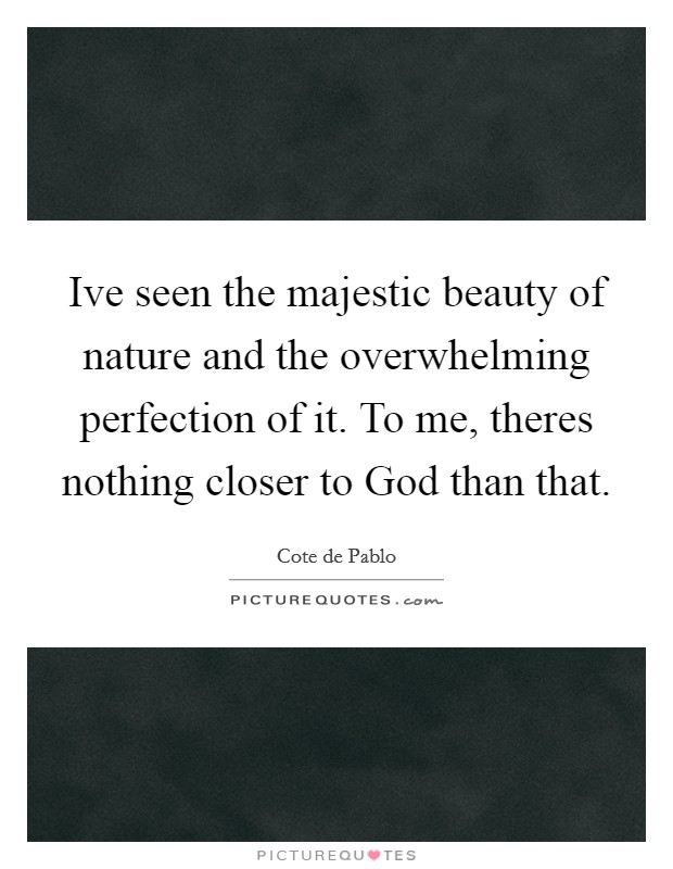 Ive seen the majestic beauty of nature and the overwhelming perfection of it. To me, theres nothing closer to God than that Picture Quote #1