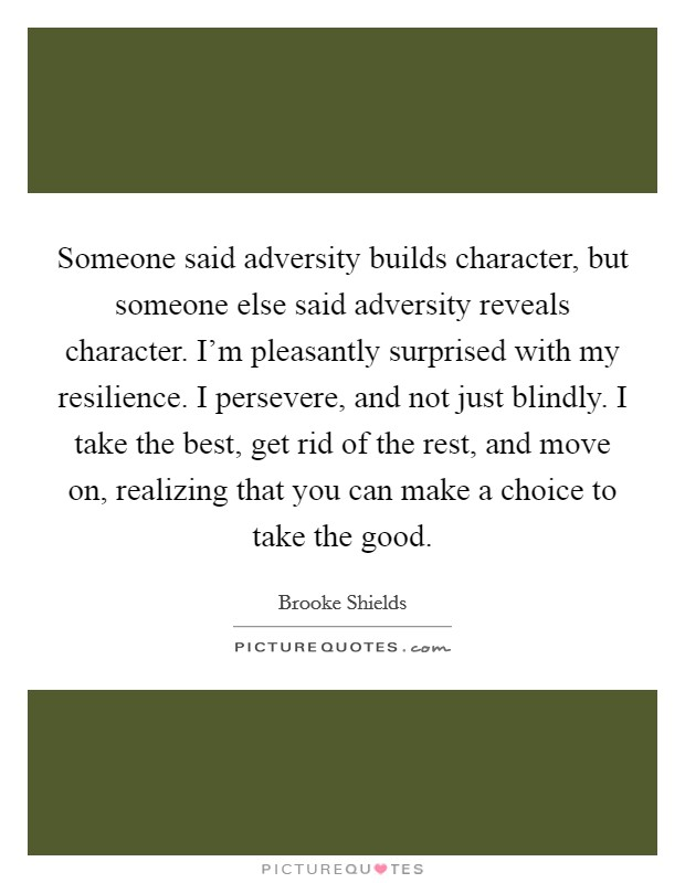 Someone said adversity builds character, but someone else said adversity reveals character. I'm pleasantly surprised with my resilience. I persevere, and not just blindly. I take the best, get rid of the rest, and move on, realizing that you can make a choice to take the good Picture Quote #1