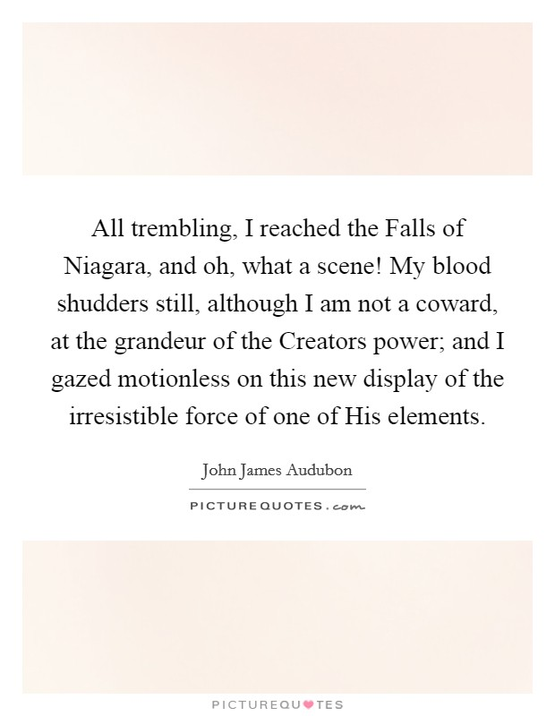 All trembling, I reached the Falls of Niagara, and oh, what a scene! My blood shudders still, although I am not a coward, at the grandeur of the Creators power; and I gazed motionless on this new display of the irresistible force of one of His elements Picture Quote #1