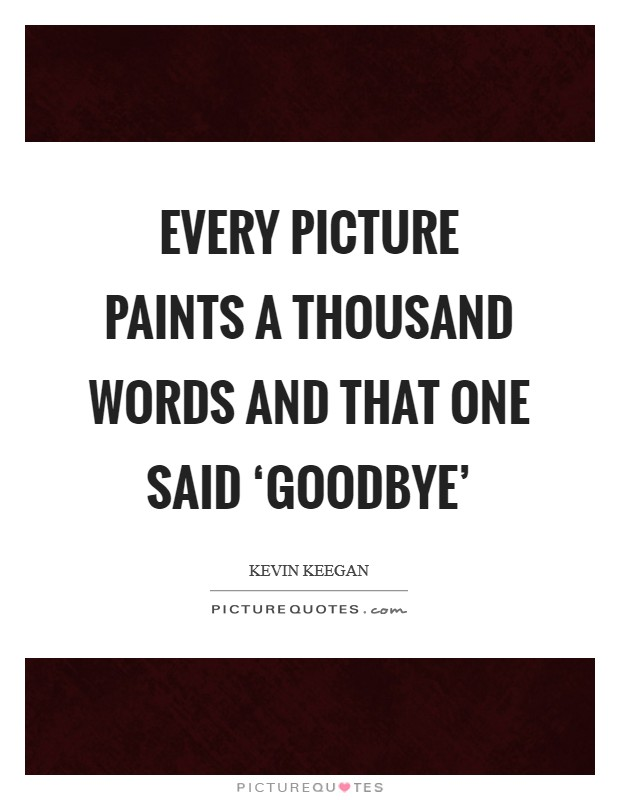 Every picture paints a thousand words and that one said 'goodbye' Picture Quote #1