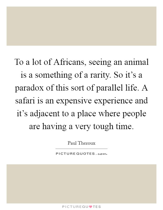 To a lot of Africans, seeing an animal is a something of a rarity. So it's a paradox of this sort of parallel life. A safari is an expensive experience and it's adjacent to a place where people are having a very tough time Picture Quote #1