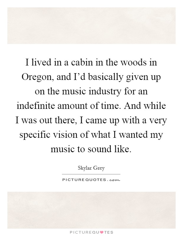 I lived in a cabin in the woods in Oregon, and I'd basically given up on the music industry for an indefinite amount of time. And while I was out there, I came up with a very specific vision of what I wanted my music to sound like Picture Quote #1