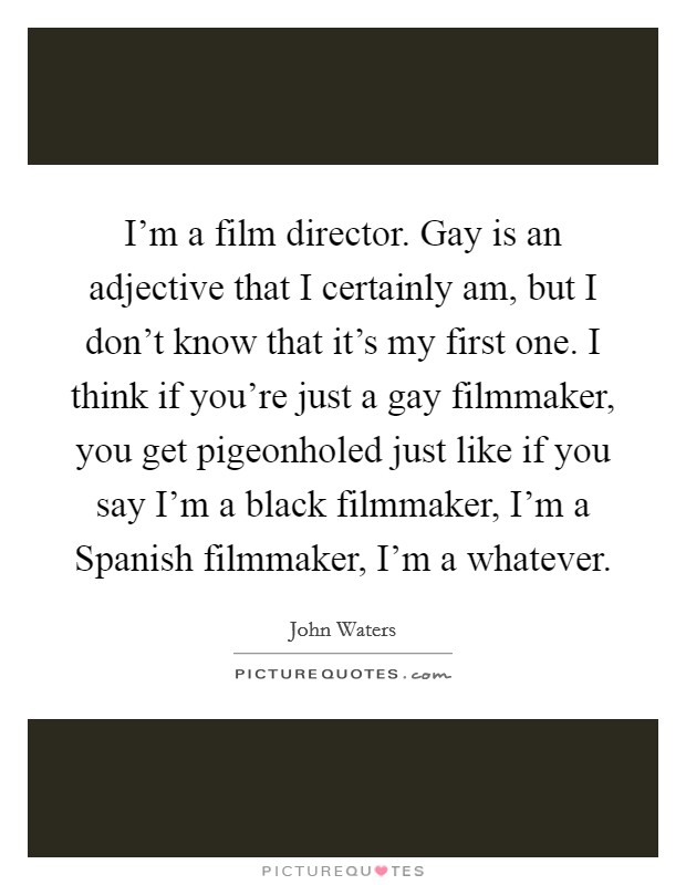 I'm a film director. Gay is an adjective that I certainly am, but I don't know that it's my first one. I think if you're just a gay filmmaker, you get pigeonholed just like if you say I'm a black filmmaker, I'm a Spanish filmmaker, I'm a whatever Picture Quote #1