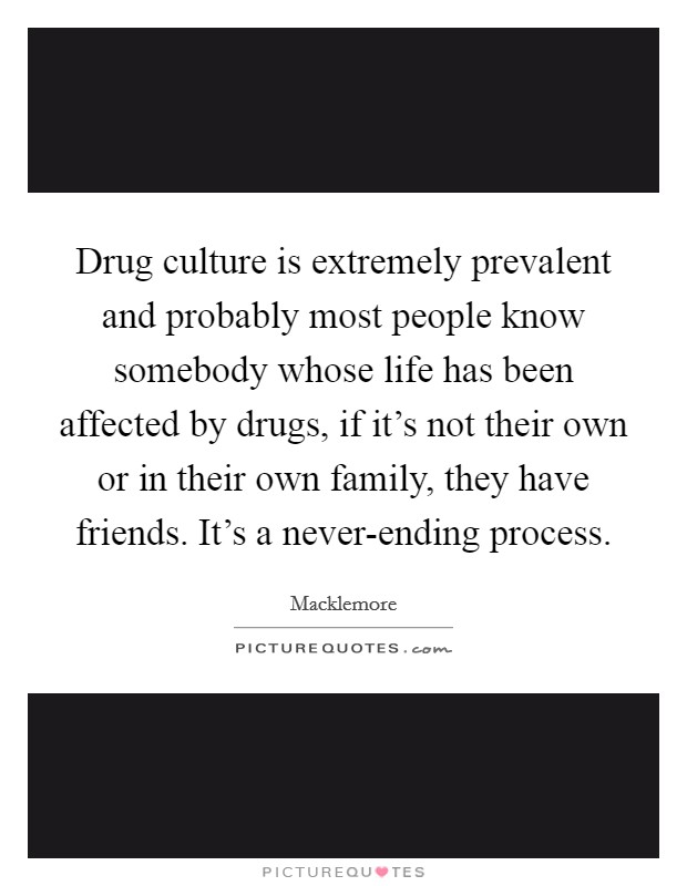 Drug culture is extremely prevalent and probably most people know somebody whose life has been affected by drugs, if it's not their own or in their own family, they have friends. It's a never-ending process Picture Quote #1