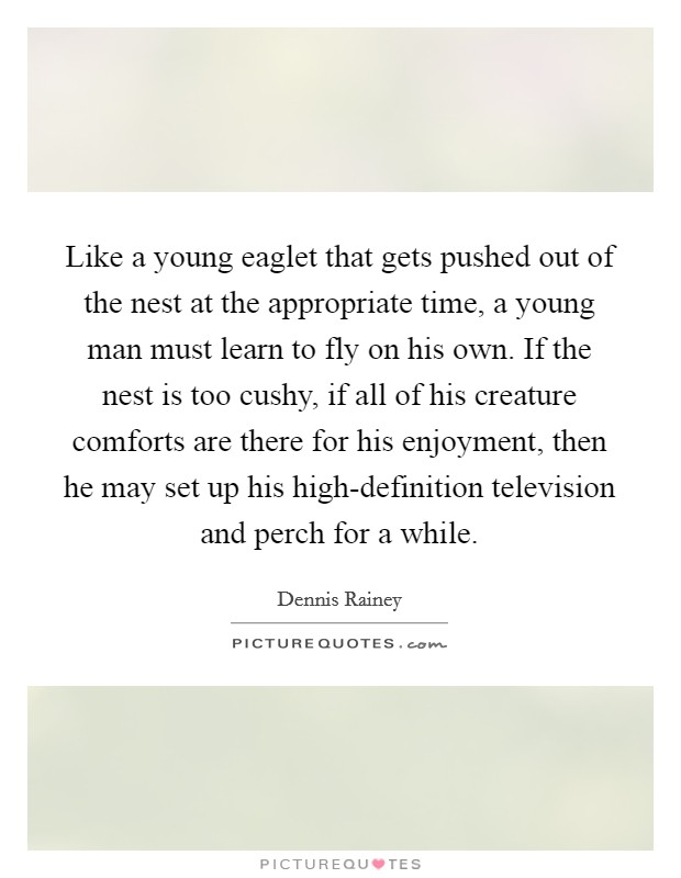 Like a young eaglet that gets pushed out of the nest at the appropriate time, a young man must learn to fly on his own. If the nest is too cushy, if all of his creature comforts are there for his enjoyment, then he may set up his high-definition television and perch for a while Picture Quote #1