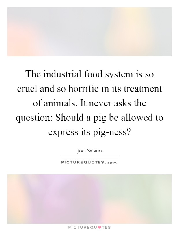 The industrial food system is so cruel and so horrific in its treatment of animals. It never asks the question: Should a pig be allowed to express its pig-ness? Picture Quote #1