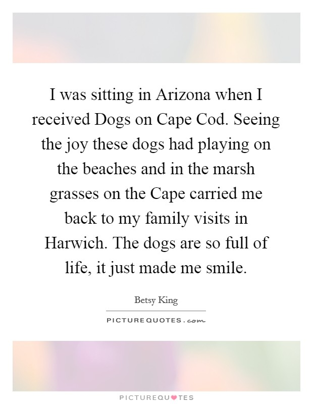 I was sitting in Arizona when I received Dogs on Cape Cod. Seeing the joy these dogs had playing on the beaches and in the marsh grasses on the Cape carried me back to my family visits in Harwich. The dogs are so full of life, it just made me smile Picture Quote #1