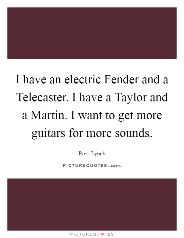 I have an electric Fender and a Telecaster. I have a Taylor and a Martin. I want to get more guitars for more sounds Picture Quote #1