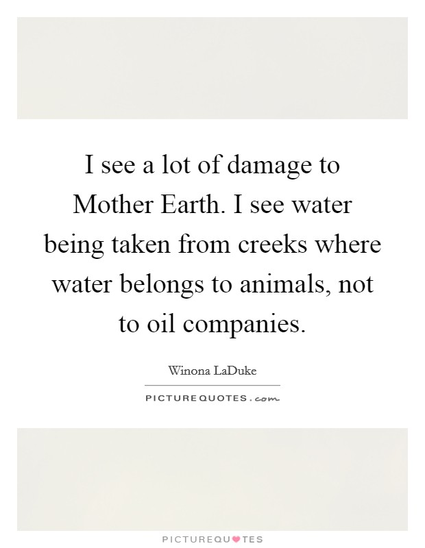 I see a lot of damage to Mother Earth. I see water being taken from creeks where water belongs to animals, not to oil companies Picture Quote #1