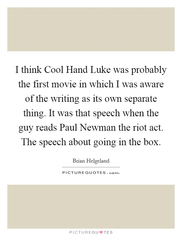 cool hand luke conformity essay American rhetoric: movie speech cool hand luke (1967) carr explains the rules of the house to new prisoners your browser does not support the video tag.
