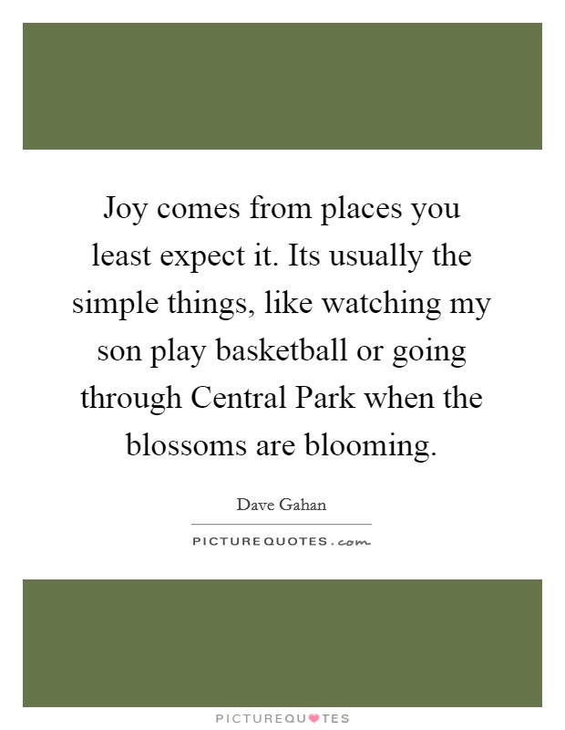 Joy comes from places you least expect it. Its usually the simple things, like watching my son play basketball or going through Central Park when the blossoms are blooming Picture Quote #1