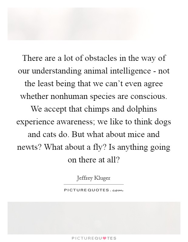 There are a lot of obstacles in the way of our understanding animal intelligence - not the least being that we can't even agree whether nonhuman species are conscious. We accept that chimps and dolphins experience awareness; we like to think dogs and cats do. But what about mice and newts? What about a fly? Is anything going on there at all? Picture Quote #1