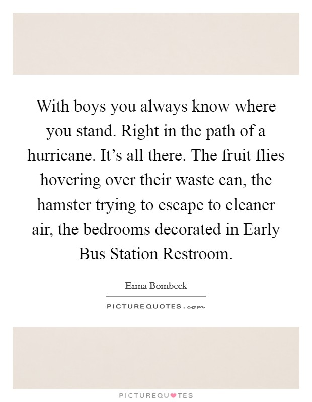 With boys you always know where you stand. Right in the path of a hurricane. It's all there. The fruit flies hovering over their waste can, the hamster trying to escape to cleaner air, the bedrooms decorated in Early Bus Station Restroom Picture Quote #1