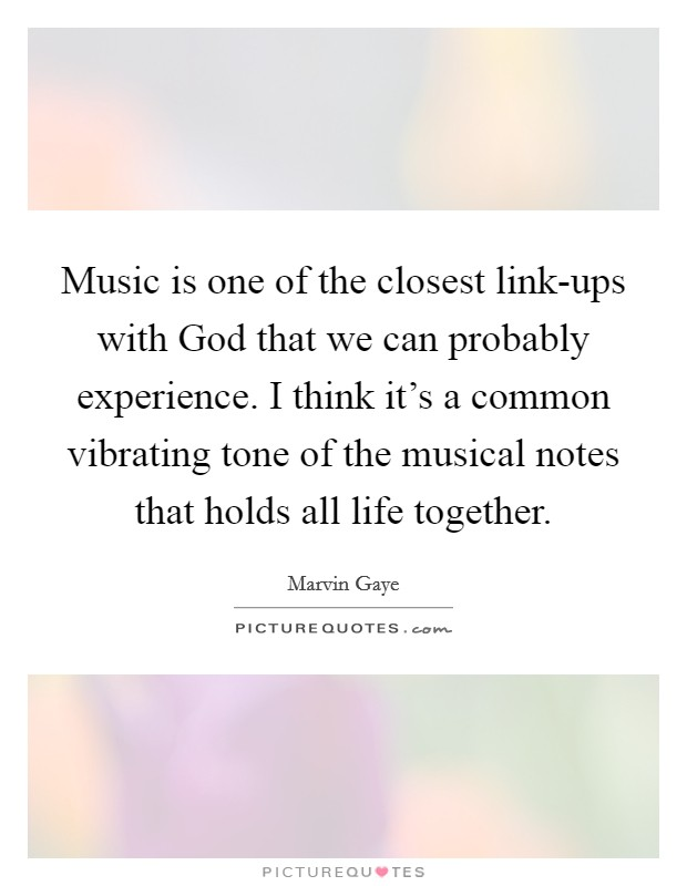 Music is one of the closest link-ups with God that we can probably experience. I think it's a common vibrating tone of the musical notes that holds all life together Picture Quote #1