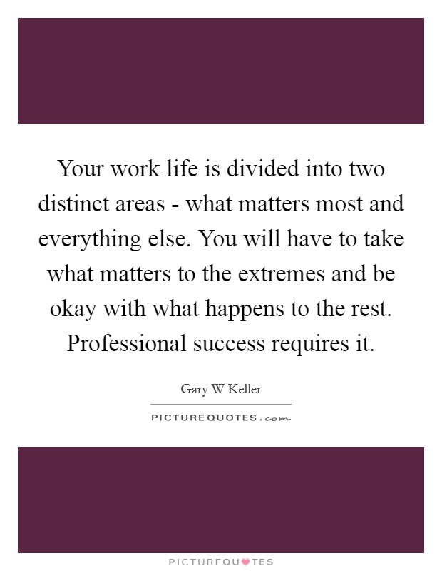 Your work life is divided into two distinct areas - what matters most and everything else. You will have to take what matters to the extremes and be okay with what happens to the rest. Professional success requires it Picture Quote #1
