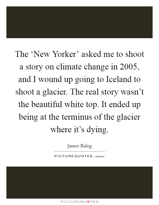 The 'New Yorker' asked me to shoot a story on climate change in 2005, and I wound up going to Iceland to shoot a glacier. The real story wasn't the beautiful white top. It ended up being at the terminus of the glacier where it's dying Picture Quote #1