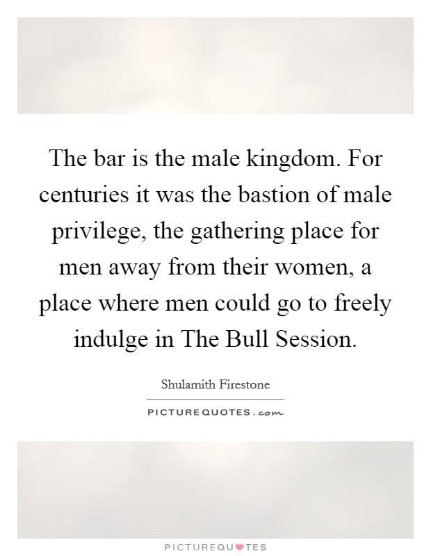 The bar is the male kingdom. For centuries it was the bastion of male privilege, the gathering place for men away from their women, a place where men could go to freely indulge in The Bull Session Picture Quote #1
