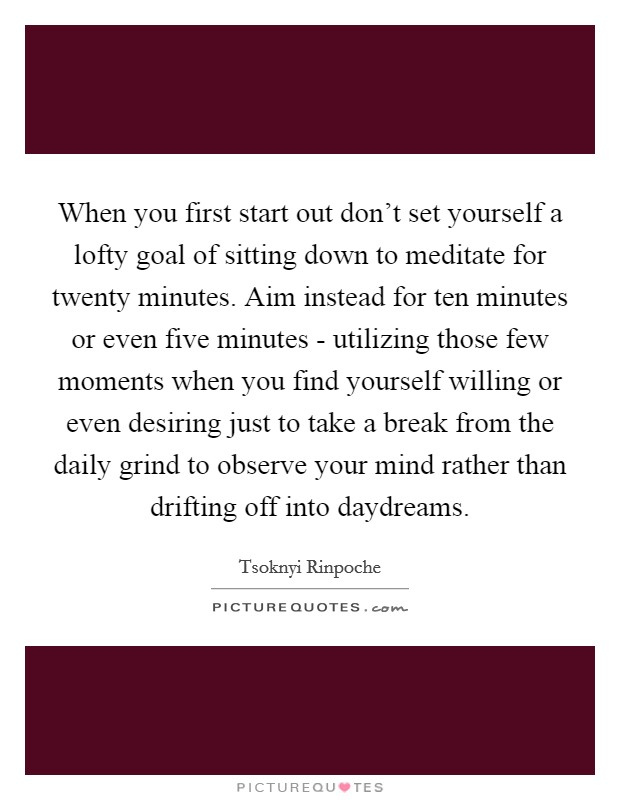 When you first start out don't set yourself a lofty goal of sitting down to meditate for twenty minutes. Aim instead for ten minutes or even five minutes - utilizing those few moments when you find yourself willing or even desiring just to take a break from the daily grind to observe your mind rather than drifting off into daydreams Picture Quote #1