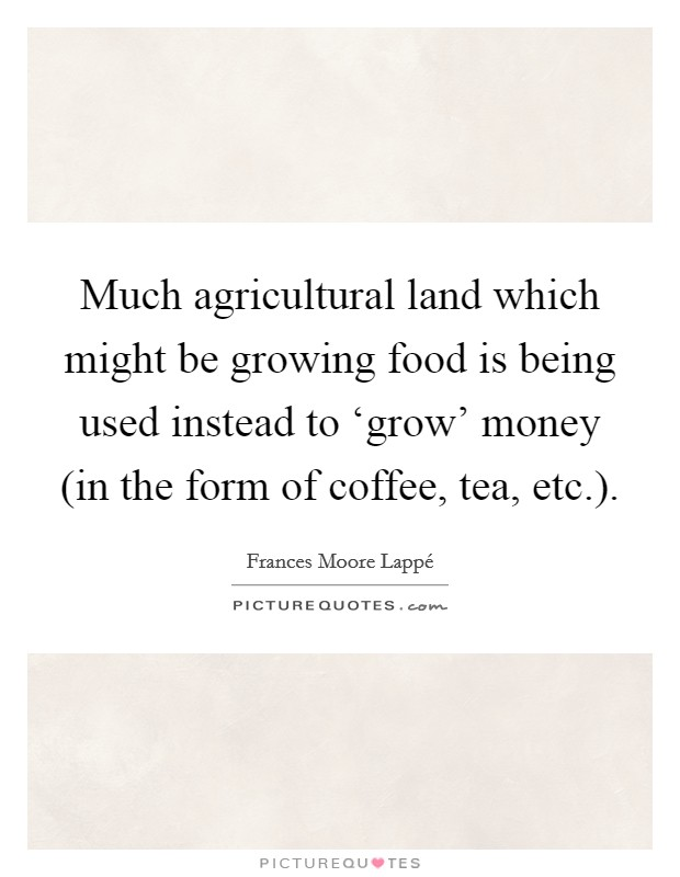 Much agricultural land which might be growing food is being used instead to 'grow' money (in the form of coffee, tea, etc.) Picture Quote #1