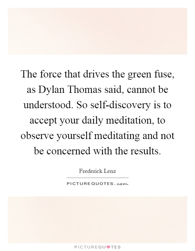 The force that drives the green fuse, as Dylan Thomas said, cannot be understood. So self-discovery is to accept your daily meditation, to observe yourself meditating and not be concerned with the results Picture Quote #1