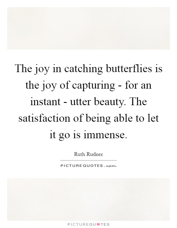 The joy in catching butterflies is the joy of capturing - for an instant - utter beauty. The satisfaction of being able to let it go is immense Picture Quote #1