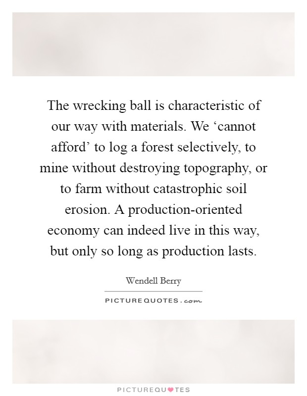 The wrecking ball is characteristic of our way with materials. We 'cannot afford' to log a forest selectively, to mine without destroying topography, or to farm without catastrophic soil erosion. A production-oriented economy can indeed live in this way, but only so long as production lasts Picture Quote #1
