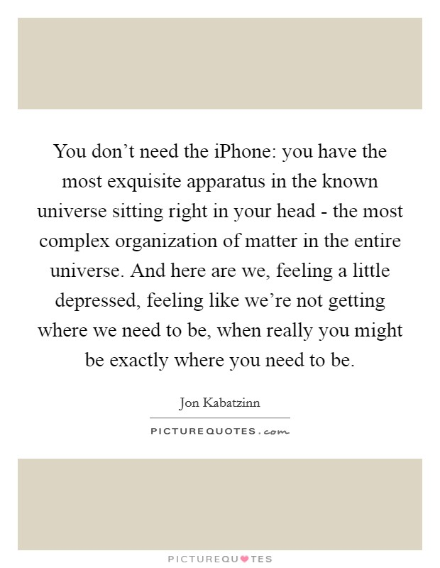You don't need the iPhone: you have the most exquisite apparatus in the known universe sitting right in your head - the most complex organization of matter in the entire universe. And here are we, feeling a little depressed, feeling like we're not getting where we need to be, when really you might be exactly where you need to be Picture Quote #1