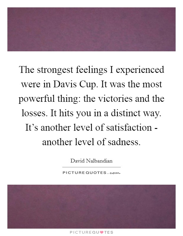 The strongest feelings I experienced were in Davis Cup. It was the most powerful thing: the victories and the losses. It hits you in a distinct way. It's another level of satisfaction - another level of sadness Picture Quote #1