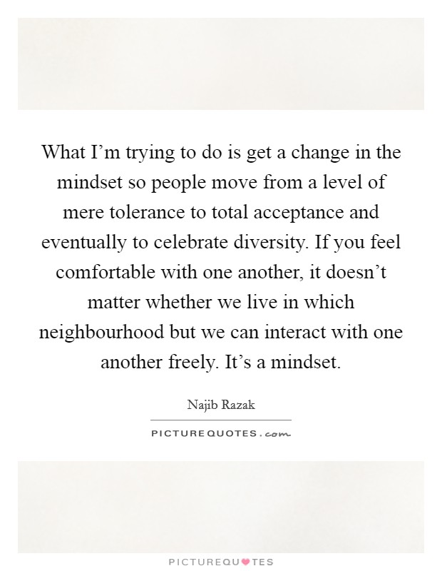 What I'm trying to do is get a change in the mindset so people move from a level of mere tolerance to total acceptance and eventually to celebrate diversity. If you feel comfortable with one another, it doesn't matter whether we live in which neighbourhood but we can interact with one another freely. It's a mindset Picture Quote #1