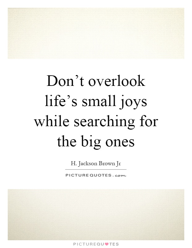 Don't overlook life's small joys while searching for the big ones Picture Quote #1