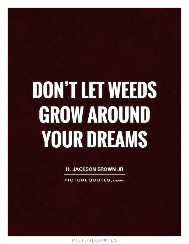 Don't let weeds grow around your dreams Picture Quote #1