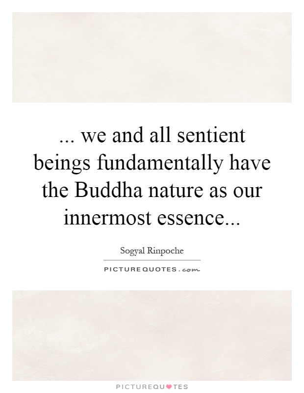 ... we and all sentient beings fundamentally have the Buddha nature as our innermost essence Picture Quote #1