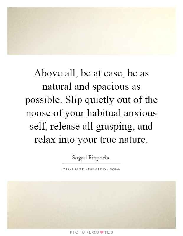 Above all, be at ease, be as natural and spacious as possible. Slip quietly out of the noose of your habitual anxious self, release all grasping, and relax into your true nature Picture Quote #1