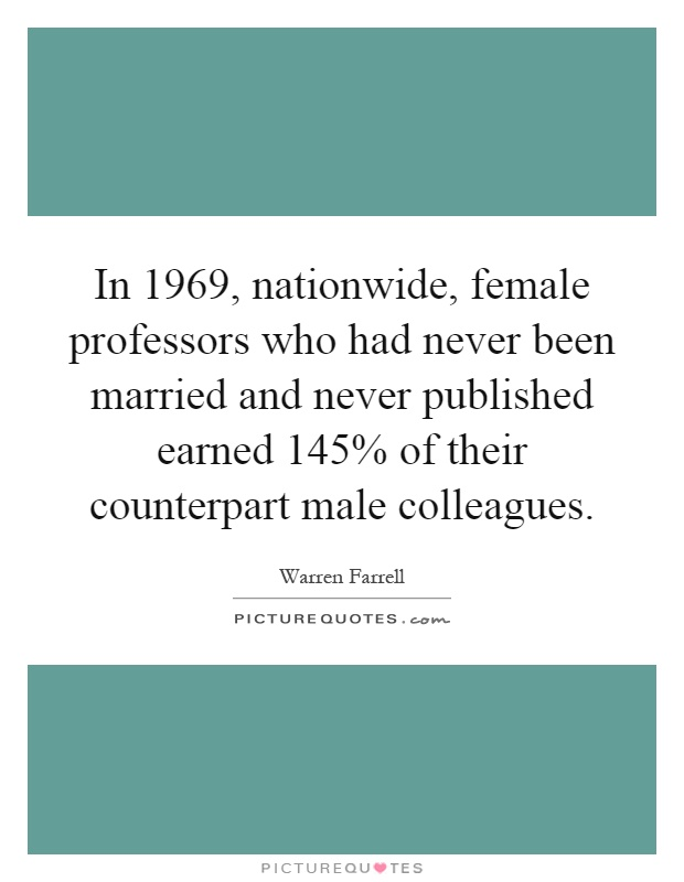 In 1969, nationwide, female professors who had never been married and never published earned 145% of their counterpart male colleagues Picture Quote #1