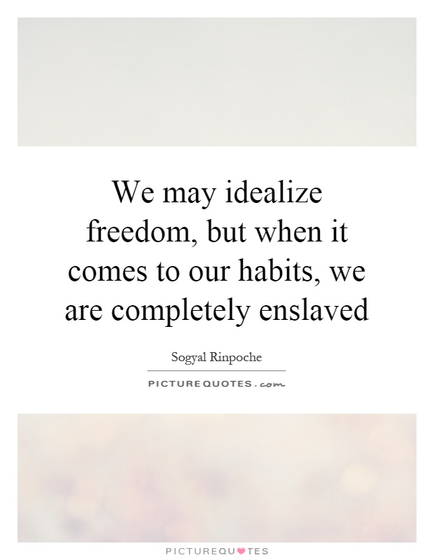 We may idealize freedom, but when it comes to our habits, we are completely enslaved Picture Quote #1