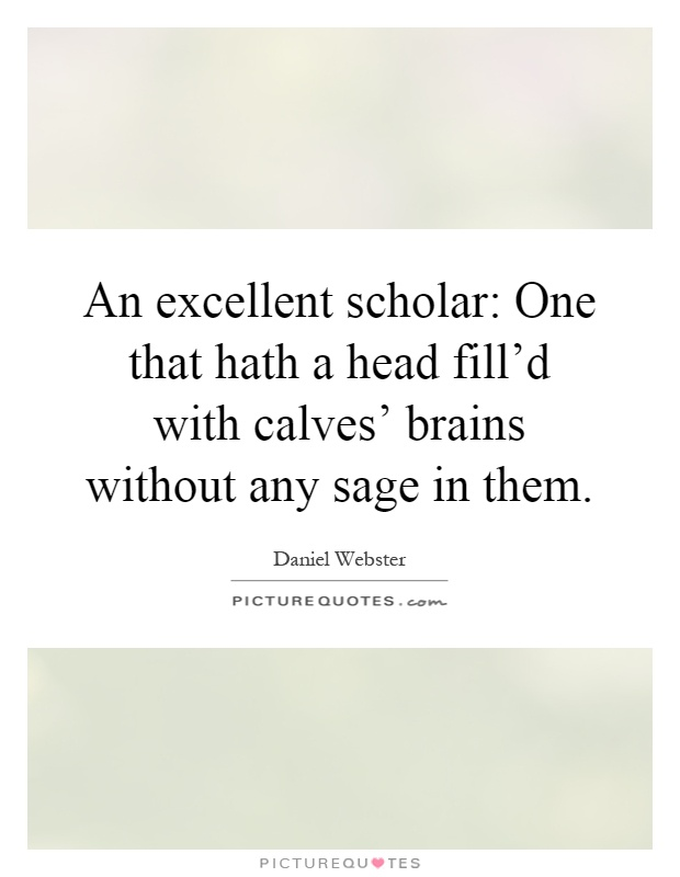 An excellent scholar: One that hath a head fill'd with calves' brains without any sage in them Picture Quote #1