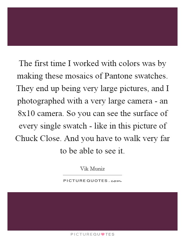 The first time I worked with colors was by making these mosaics of Pantone swatches. They end up being very large pictures, and I photographed with a very large camera - an 8x10 camera. So you can see the surface of every single swatch - like in this picture of Chuck Close. And you have to walk very far to be able to see it Picture Quote #1