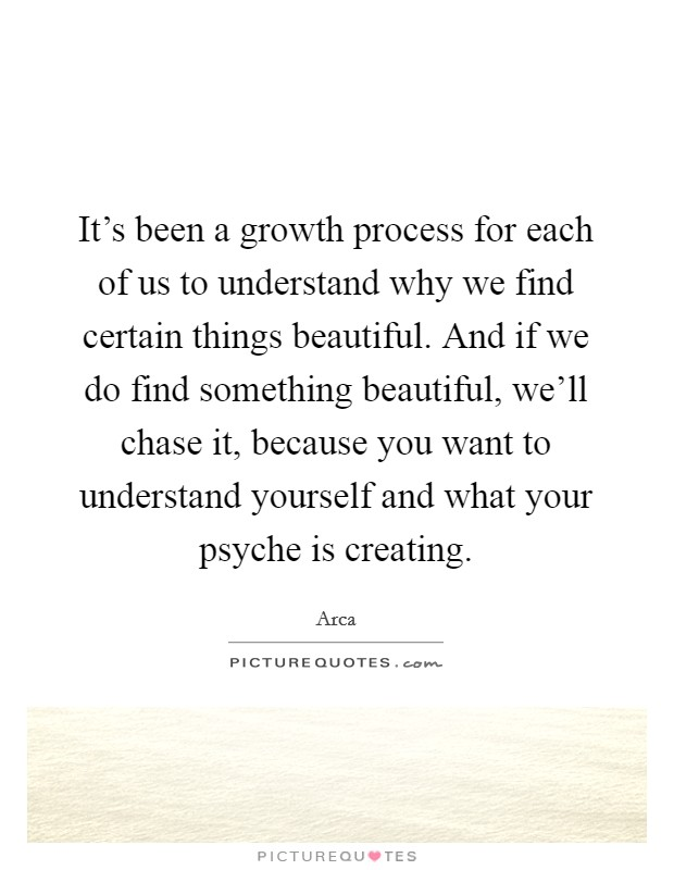 It's been a growth process for each of us to understand why we find certain things beautiful. And if we do find something beautiful, we'll chase it, because you want to understand yourself and what your psyche is creating Picture Quote #1