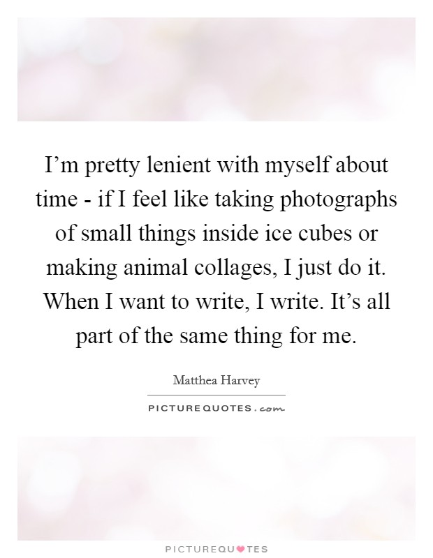 I'm pretty lenient with myself about time - if I feel like taking photographs of small things inside ice cubes or making animal collages, I just do it. When I want to write, I write. It's all part of the same thing for me Picture Quote #1