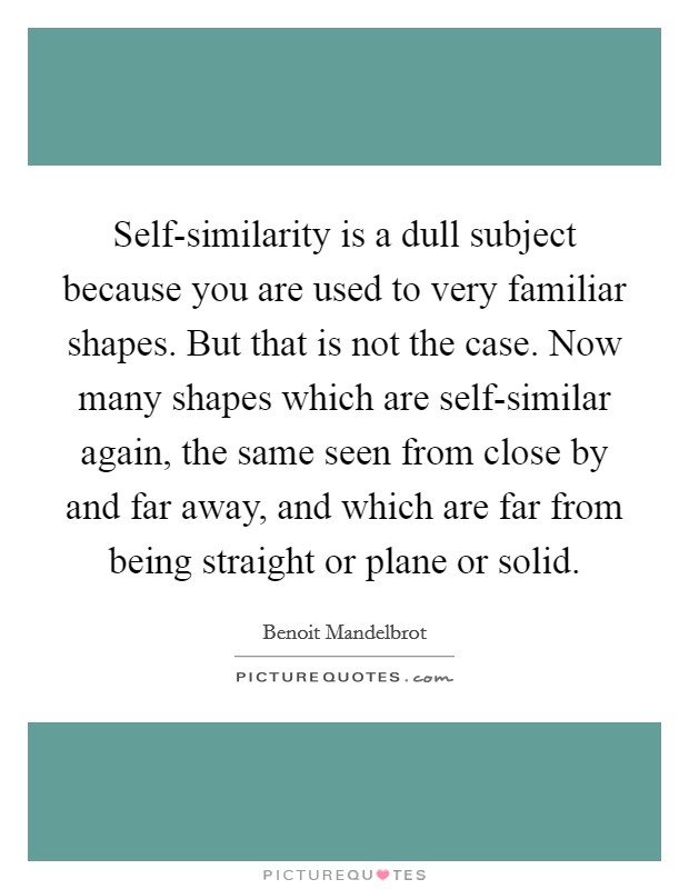 Self-similarity is a dull subject because you are used to very familiar shapes. But that is not the case. Now many shapes which are self-similar again, the same seen from close by and far away, and which are far from being straight or plane or solid Picture Quote #1