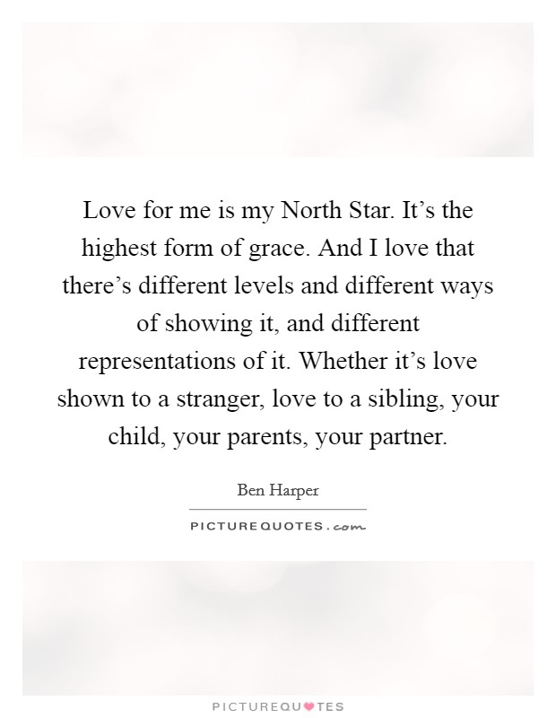 Love for me is my North Star. It's the highest form of grace. And I love that there's different levels and different ways of showing it, and different representations of it. Whether it's love shown to a stranger, love to a sibling, your child, your parents, your partner Picture Quote #1