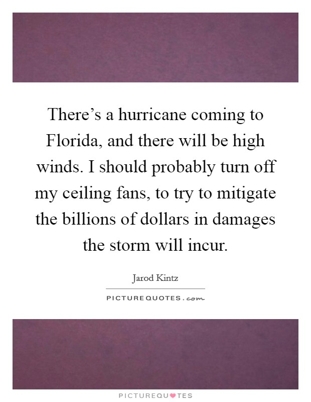 There's a hurricane coming to Florida, and there will be high winds. I should probably turn off my ceiling fans, to try to mitigate the billions of dollars in damages the storm will incur Picture Quote #1