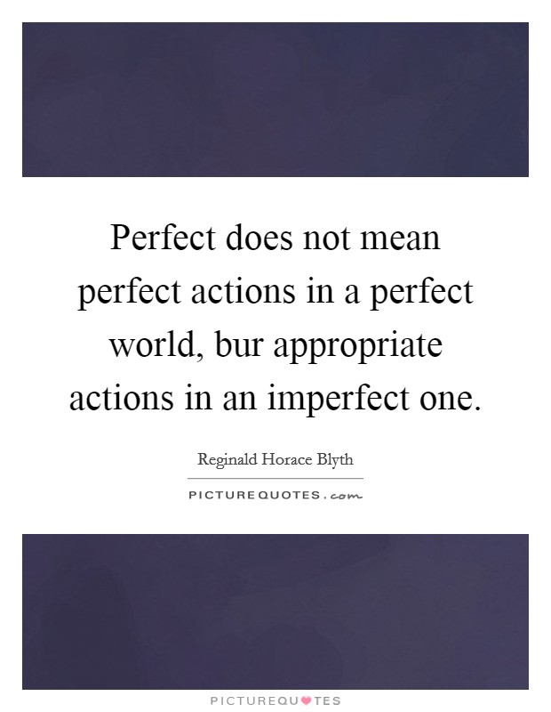 Perfect does not mean perfect actions in a perfect world, bur appropriate actions in an imperfect one Picture Quote #1