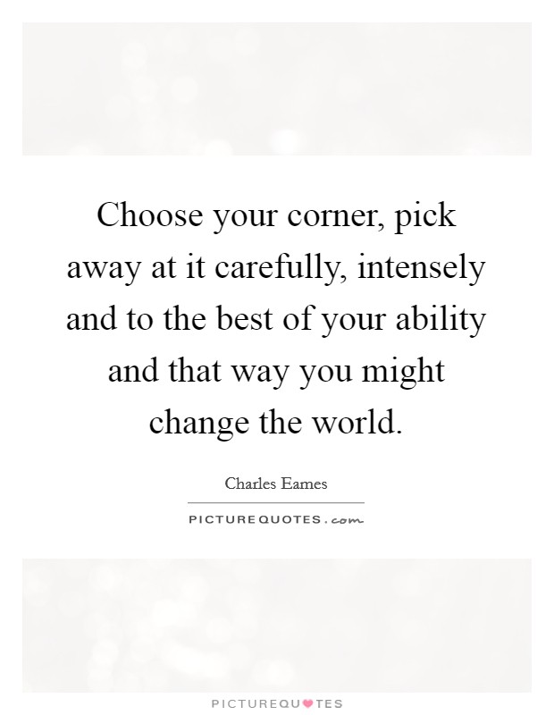 Choose your corner, pick away at it carefully, intensely and to the best of your ability and that way you might change the world Picture Quote #1