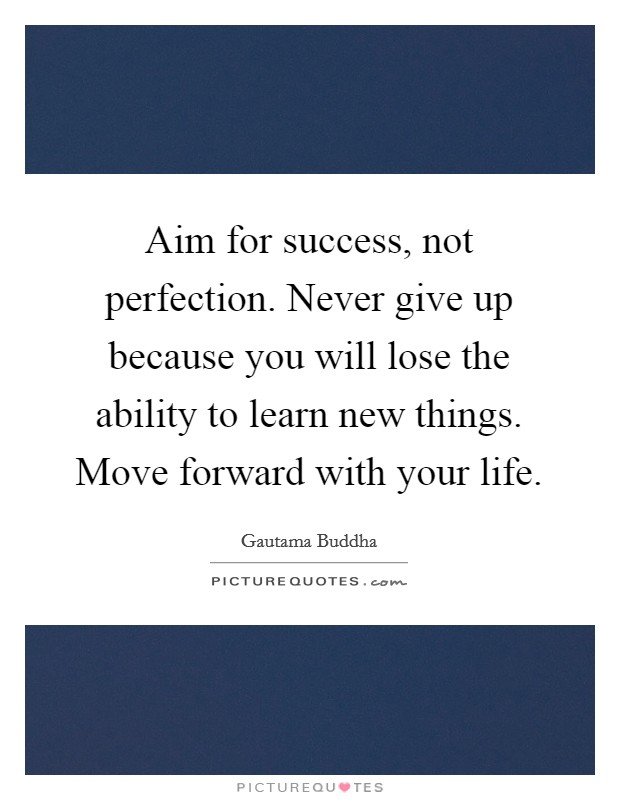 Aim for success, not perfection. Never give up because you will lose the ability to learn new things. Move forward with your life Picture Quote #1