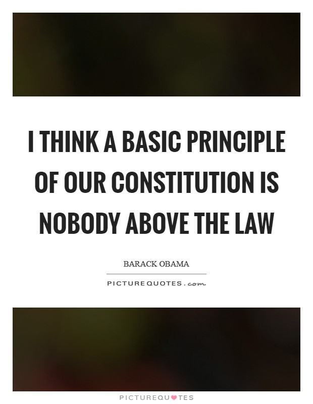 I think a basic principle of our Constitution is nobody above the law Picture Quote #1