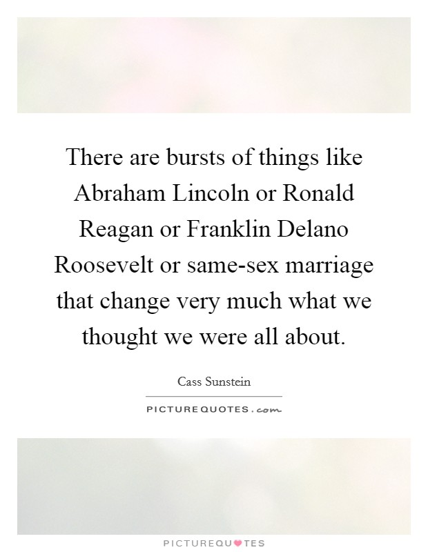 There are bursts of things like Abraham Lincoln or Ronald Reagan or Franklin Delano Roosevelt or same-sex marriage that change very much what we thought we were all about Picture Quote #1