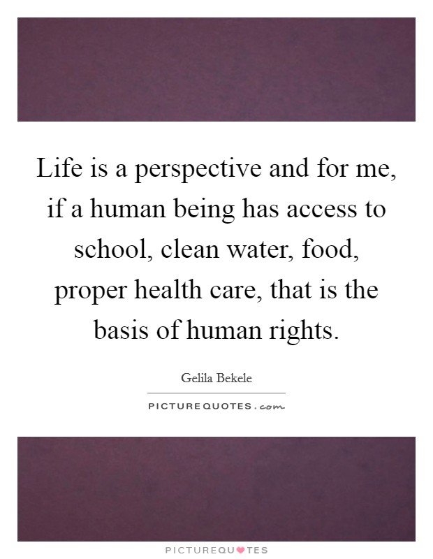 Life is a perspective and for me, if a human being has access to school, clean water, food, proper health care, that is the basis of human rights Picture Quote #1