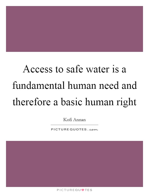 Access to safe water is a fundamental human need and therefore a basic human right Picture Quote #1